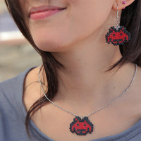 Space Invaders Pendant & Earrings Set. Colorful Retro Space Invaders Set. Choose between 24 Colors