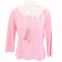Shop Now! Ugly Sweaters: Blingy Pink Feather Boa Tacky Ugly Christmas Sweater Women's Size Large (L) $30 - The Ugly Sweater Shop