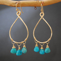 Aphrodite 27 Hammered drop hoops with stone color of your choice