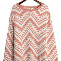 Aztec Triangle Pattern Jumper in Peach/White - New Arrivals - Retro, Indie and Unique Fashion