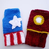 Superhero fingerless gloves - Iron Man or Captain America