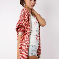 Aztec Knit Loose Fit Red Cardigan  - Outers - Retro, Indie and Unique Fashion