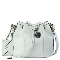 White Navy Drawstring Duffle Bucket Bag - Bags - Goods - Retro, Indie and Unique Fashion