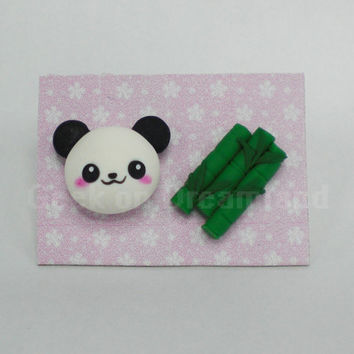 Panda Bambu earrings studs kawaii