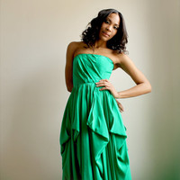 Charline -Emerald Green silk gown --Sample Sale