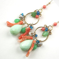 Peruvian Opal Earrings Branch Coral 14kt Gold Filled Chandelier Hoop Earrings Wire Wrapped Multicolor Gemstone Summer Fashion