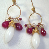 Ruby Jewelry White Aventurine Gold Hoop Earrings Ruby Wire Wrapped 14k Gold Filled Long Spring Fashion