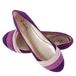 Qupid Purple Velvet Color Block Ballerina from Make Me ...