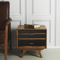 Two-Tone 50s Two Drawer Side Table