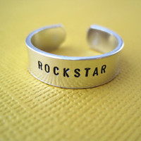 Rockstar Ring - Hand Stamped Ring - Skinny 1/4 Band
