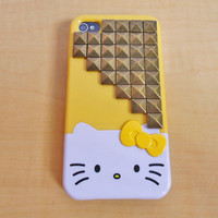 Hello kitty iPhone 4,4S hard Case cover with bronze pyramid for iPhone 4 case,iPhone 4S case ,iPhone 4GS case  SJK-2070