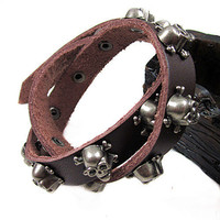 Jewelry bangle skull bracelet leather bracelet men bracelet punk bracelet made of metal skull and leather wrist bracelet  SH-2078