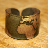 Size 7 Gold World Map Ring Size 7 by kaykreationsphoto on Etsy