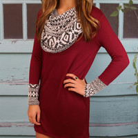 Desert Dream Burgundy Cowl Neck Dress