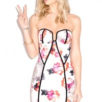 Oh My Love Heart Shaped Vibrant Floral Panelled Scuba Bodycon Mini Dress