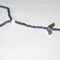 Beaded Stretch Slave Anklet and Attached Toe Ring With Angel Wings