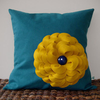 Colorblock Flower Pillow in Mustard Yellow and Teal Linen by JillianReneDecor Vintage Inspired Retro Fall Home Decor