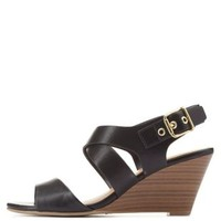City Classified Slingback Low Wedge Sandals - Black