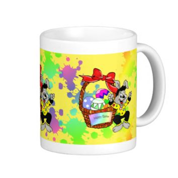 Colorful Easter eggs in basket with dancing easter Basic White Mug