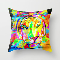 Tiger Throw Pillow by Haroulita