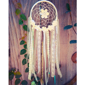 Hand Beaded Lace Crochet Floral Boho Gypsy Dreamcatcher // Baby Nursery Decor // Home Decor // Wedding Decor // Garden Art
