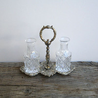 Antique Glass Oil and Vinegar Cruet set with by Yesterdayand2day
