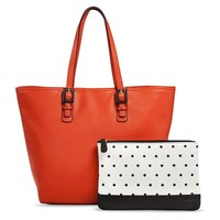 Women's Tote Handbag with Polka Dot Clutch Included - Red