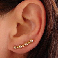 Ear Pins, Wedding Jewelry - Champagne Gold Glass Pearls and Gold Beads, Pair Earrings
