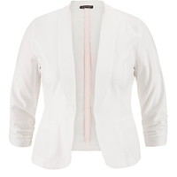 Plus Size - Solid Open Front Blazer With Faux Pockets - White