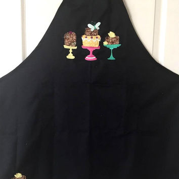 Applique & Embroidered Black Womens Apron- Optional Personalization