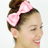 Dolly Bow Pink Hair Bow Headband stretchy Headband Pink Bow Headband Huge Hair Bow Women Headband Satin Ribbon baby Pink headband elastic