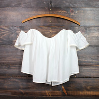 boho chic off the shoulder crop top | white