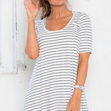 Float On Ribbed Dress in White Stripe