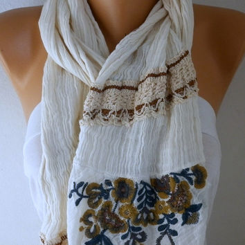 Creamy White Scarf Spring Shawl Cowl Scarf Bridal Accessories Bridesmaid Gift Gift Ideas for Her Women Fashion Accessories Mother's Day Gift
