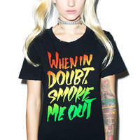 Petals and Peacocks When In Doubt Destroyed Tee Black