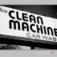 Retro Car Wash Sign, Black and White Photography, Eclectic Wall Decor