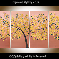 "Abstract Landscape Painting Original Modern Heavy Texture Palette Knife Metallic Gold Tree Flower Wall Décor ""Golden Blossom"" by QIQIGALLERY"