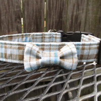 Dog Collar - MADE TO ORDER Fall Blues Blue and Brown Plaid Collar and Bowtie