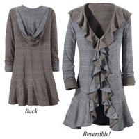 Reversible Hooded Ruffle Jacket - New Age & Spiritual Gifts at Pyramid Collection