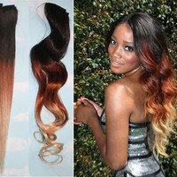 Handmade Harvest Fall Ombre Hair Extensions, Brunette Human Hair Extensions Clip, Hair Wefts, Clip in Hair, Dip Dyed Hair Extensions