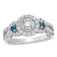 1 CT. T.W. Enhanced Blue and White Diamond Three Stone Frame Ring in 14K White Gold - View All Rings - Zales