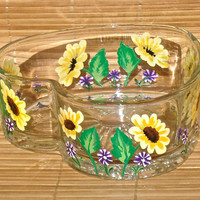 Hand Painted Glass Bowl With Yellow Spring Flowers