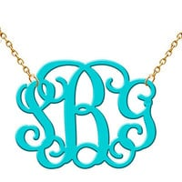 Monogram Necklace   Turquoise Acrylic  Necklace