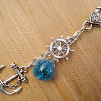 Nautical Anchor Love Blue Fried Marble Rudder Keychain