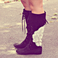 the field boots. lace and fringe tall boots.
