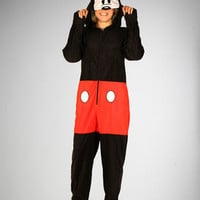 Micky Mouse Footed Hooded Adult Pajamas