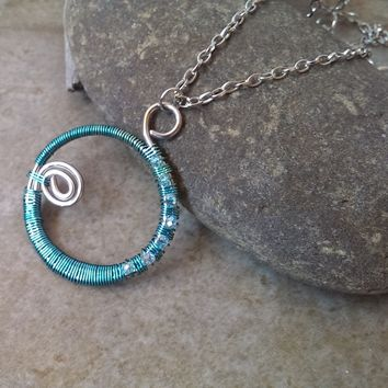 Wire wrapped hoop necklace blue and silver