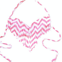 Chevron Fringe Bikini Top
