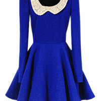 ROMWE | Peter Pan Collar Blue Dress, The Latest Street Fashion
