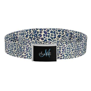 Baby Blue Leopard Print Personalized Belt